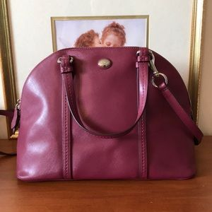Coach Peyton Cora Domed Purple Patent Leather Bag